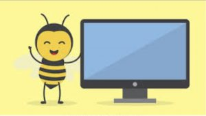 cartoon of bee with computer